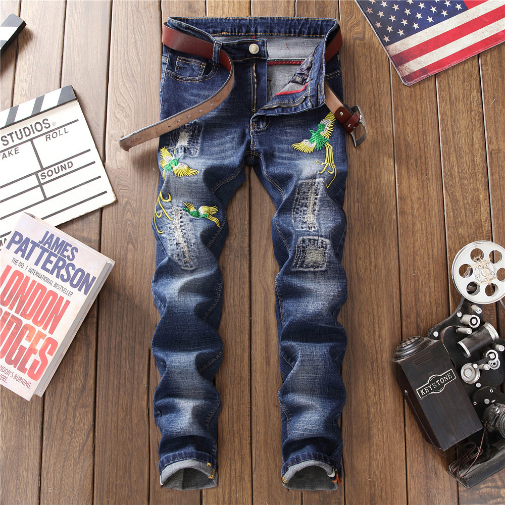 QMGOOD Mens Biker Jeans Embroidery Casual Skinny Men's Slim Denim Pants Straight Blue Jeans for Man Fashion Club Hip Hop Jeans