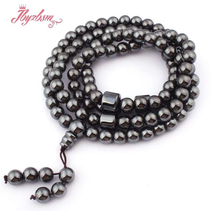 8mm Black Round (No Magnetic) Hematite Natural Stone Beads Pyayer Mala Buddish Beads Fashion Necklace Gift 31