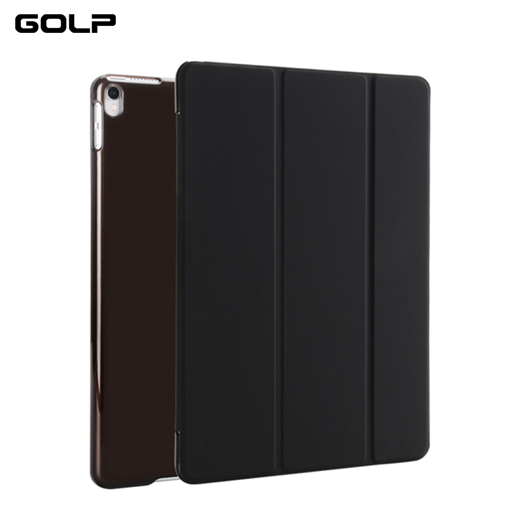 GOLP Case For iPad Pro 10.5 inch 2017 Folio 3 Fold Stand Sleep Wake Translucent Soft TPU Back Cover Smart Cases For Apple 10.5 nice soft silicone back magnetic smart pu leather case for apple 2017 ipad air 1 cover new slim thin flip tpu protective case