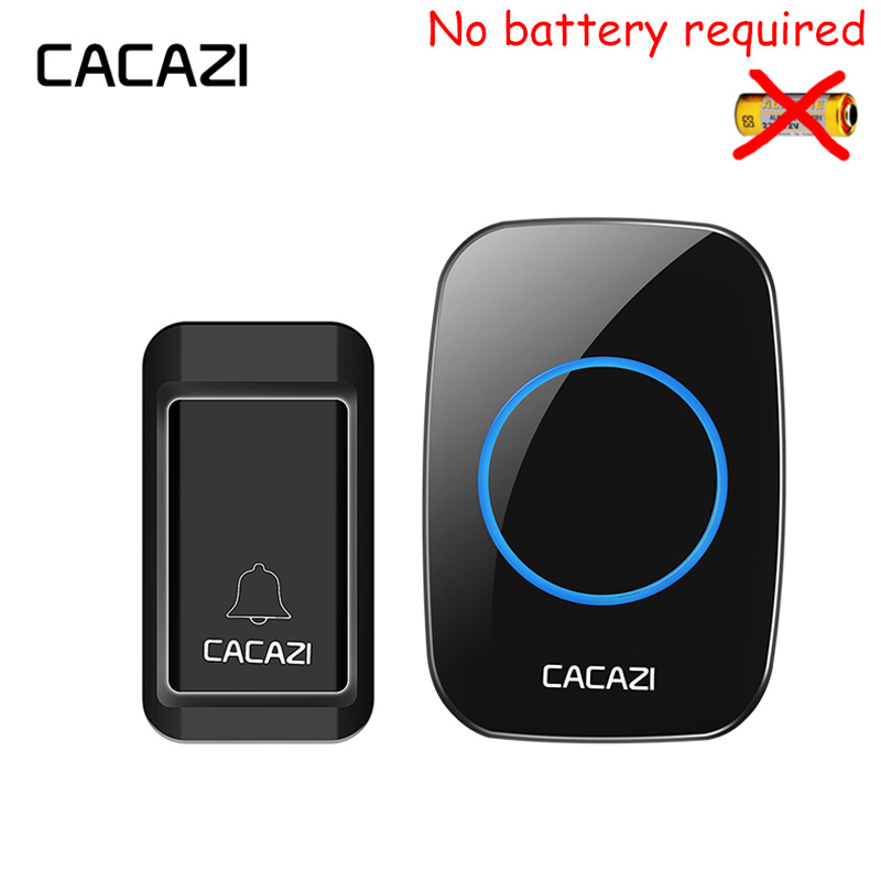 CACAZI Self-powered Waterproof Wireless Doorbell black 1 no battery button+1 EU/UK/US plug receiver LED light 120M door bell