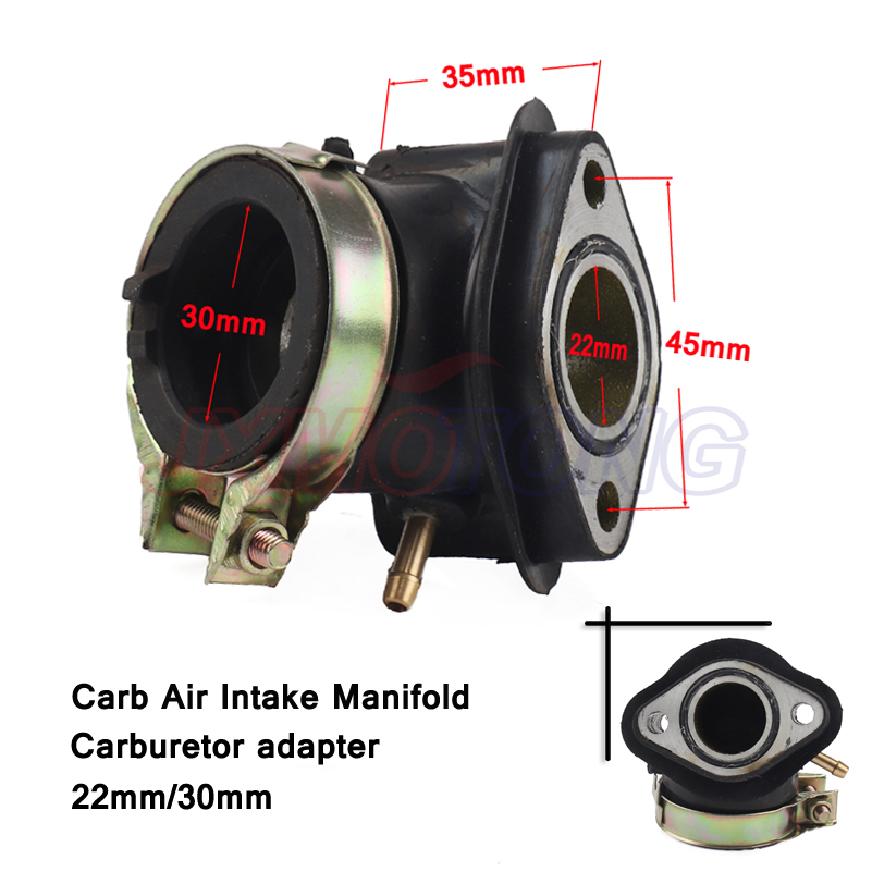 Carb Air Intake Manifold Pipe Inlet Carburetor adapter 30mm/22mm For Honda GY6 125 150cc Scooter free shipping