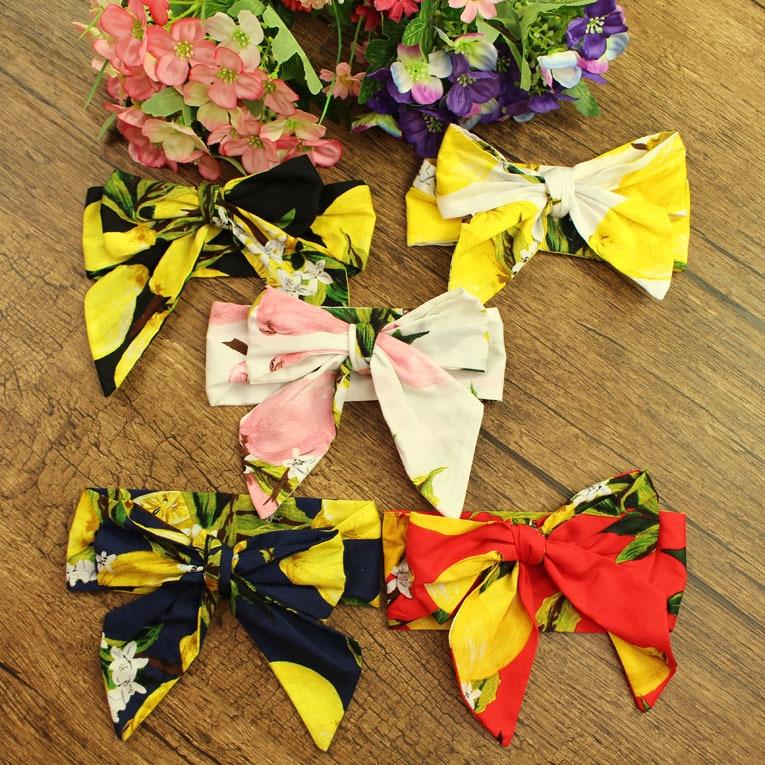12pcs lot Cotton Super Large Bow Hairbands Lemon Pineapple Cherry Watermelon Headbands Scarf Girls Hair Accessories