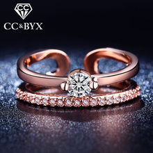 Rose Gold color Opened Ring Punk Party Rings For Women Mid Finger Fashion Jewelry Ring Cocktail CZ Jewelry Bague CC208(China)