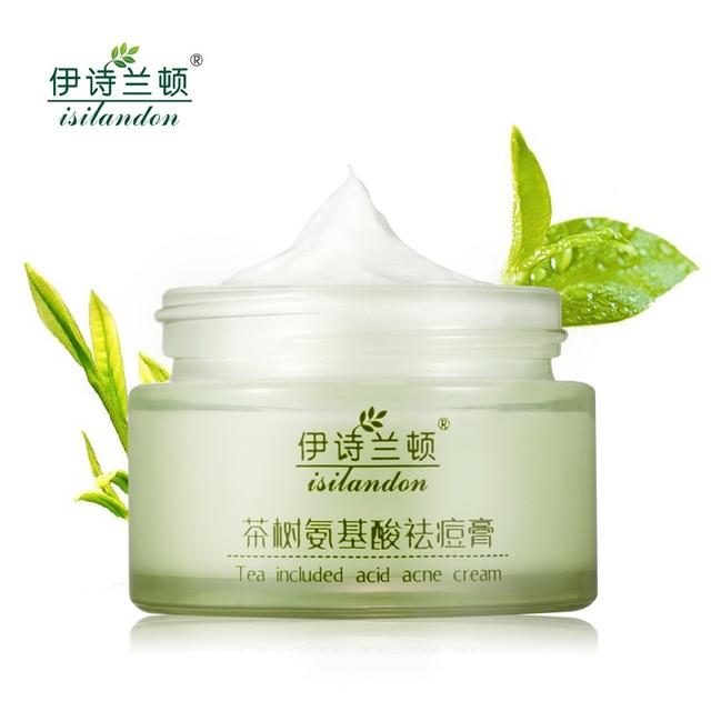 ISILANDON Green Tea Amino Acids Acne Face Cream Skin Care Acne Treatment Face Care Whitening Cream Scar Repair Free Shipping