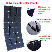 ECO-WORHTY 100W 18V flexible Mono Solar Panel For 12V Battery charge RV Boat Car