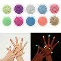 10 unids/set Polvo Del arte Del Clavo Fluorescente de Uñas Partido Cuerpo Recubrimiento de Fósforo Luminoso Noctilucentes Brillantes de Polvo Pigmento Kit DIY