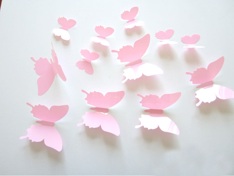 12pcs set 3d modern butterfly girl wall decals for living for Butterfly wall mural