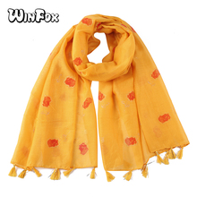 Winfox Yellow White Grey Shiny Glitter Scarf Female Long Foil Gold Red Floral Tassel Warp Scarfs Shawl Women