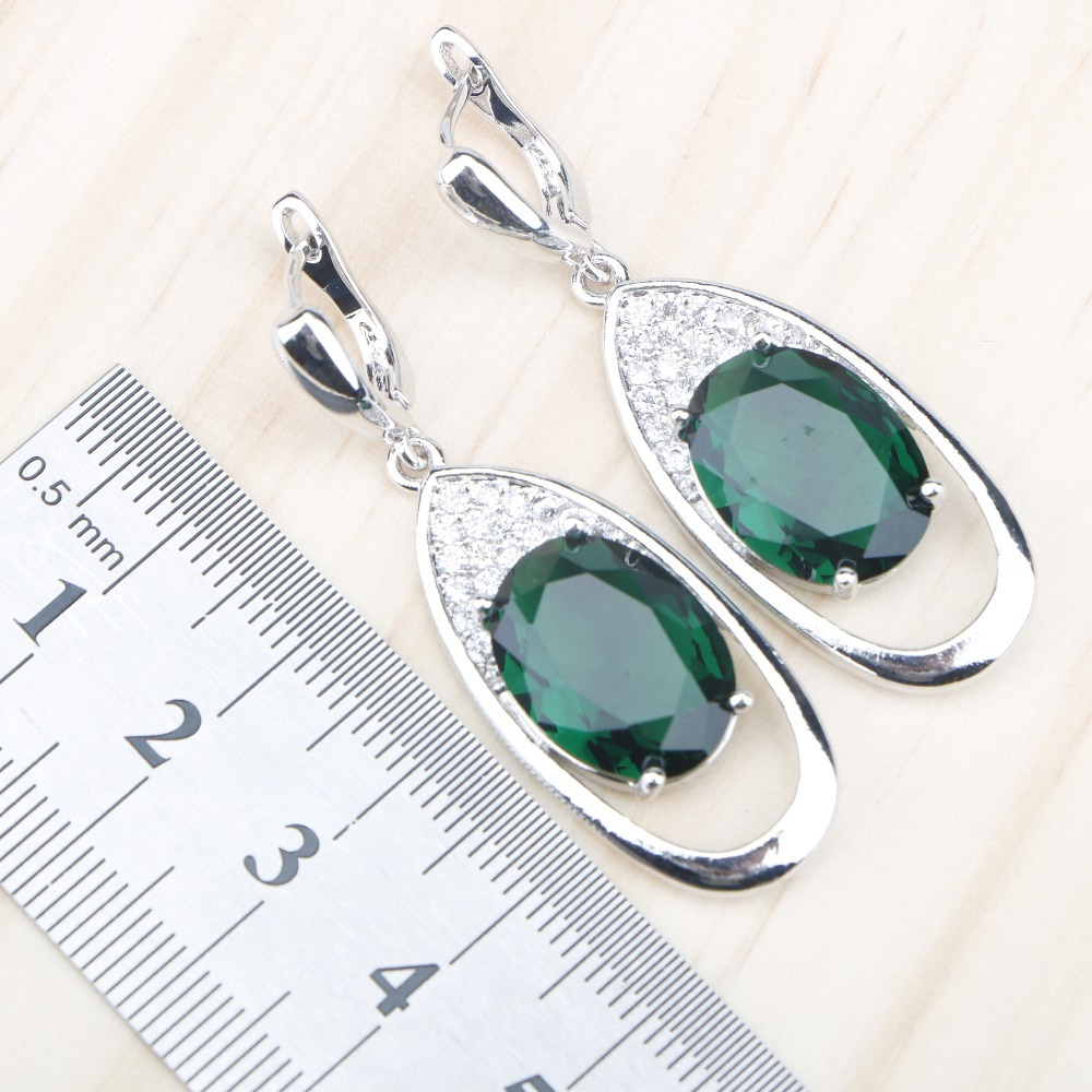 Green Zircon Wedding 925 Silver Jewelry Sets Women Necklace Charms Bracelets Rings Earrings Set With Stones Jewelery Gift Box
