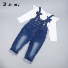 Spring 2 Pieces Baby Girls Clothing Sets Kids Jeans Bib Overalls High Quality Cotton T Shirt With Denim Jumpsuits Girls Clothes(China)