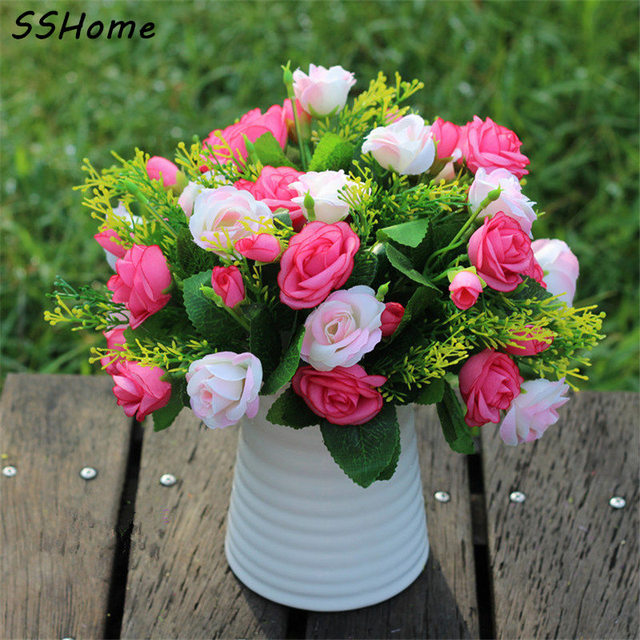 emulational valentine rose artificial flowers korean decorated silk
