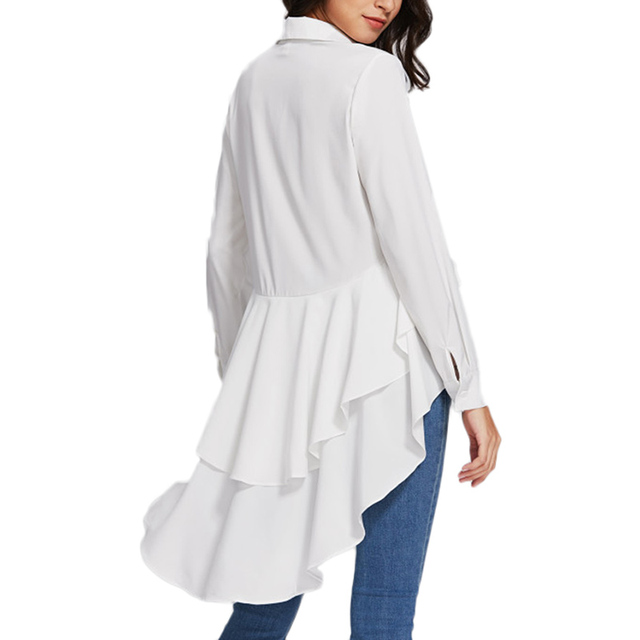 58b4caefb96 Irregular layer Ruffle Blouses 2018 New Arrival Spring Front Short Back  Long Women s Shirts long sleeve tunic tops blusas Whirt