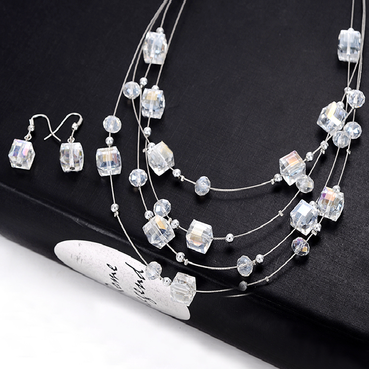 Vintage Bohemian Beads Multilayer Crystal Necklace with Earrings Set