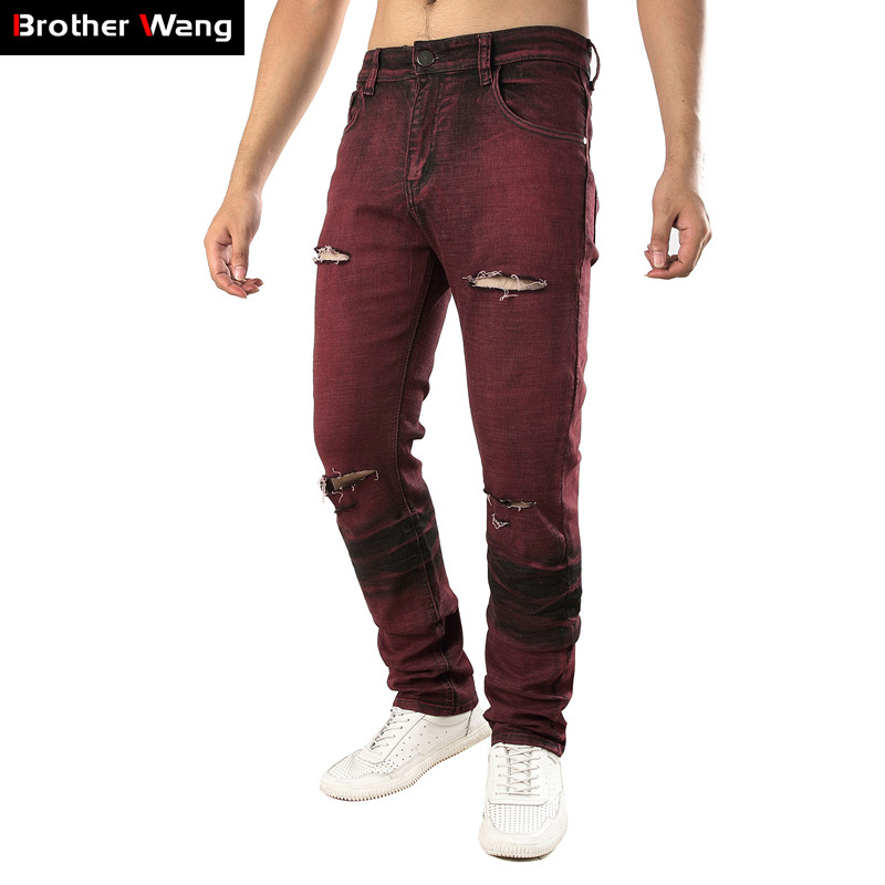 2019 New Men's Slim Stretch Jeans Fashion Biker Hole Ripped Cowboy Trousers Male Brand Red Wine Pants