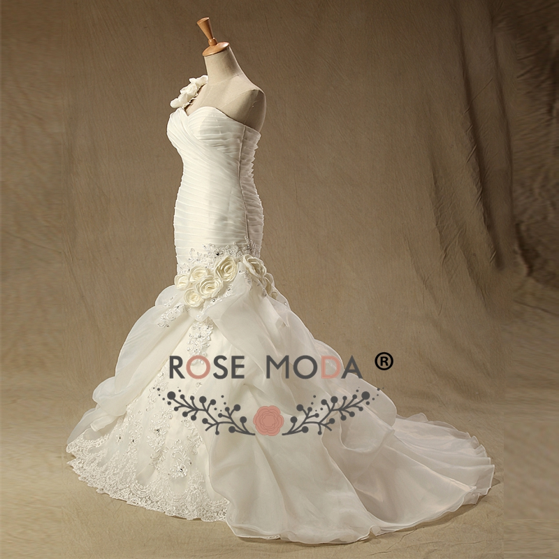 Rose Moda Organza Mermaid Wedding Dress Pyper 3d Flower One Shoulder
