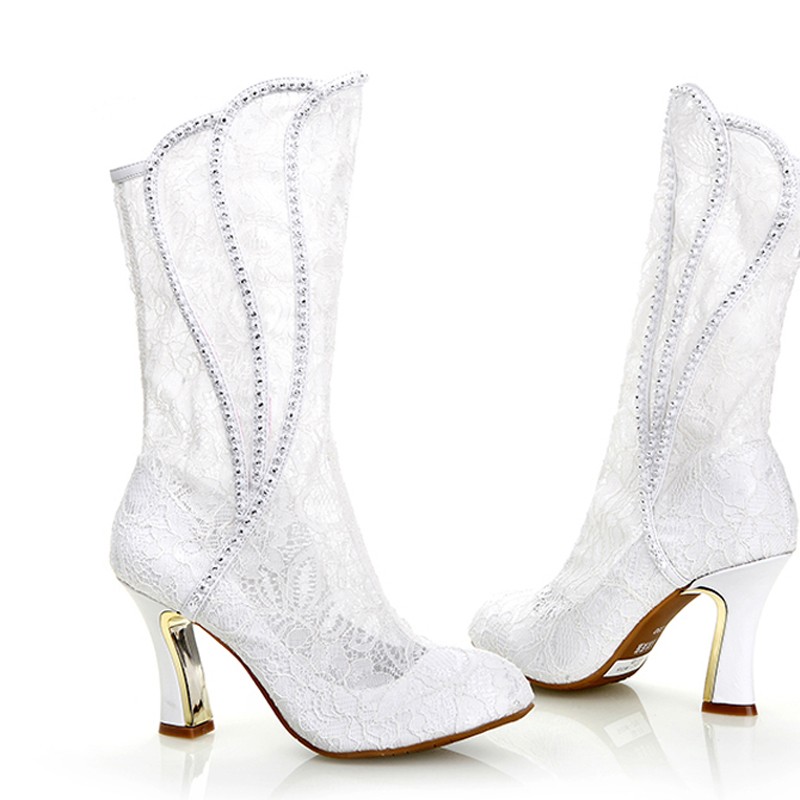 4898cbcaefbe 2018 Luxury Sexy Woman Spring Autumn White lace Wedding Shoes High Heel  Formal Boots Bridal Dress