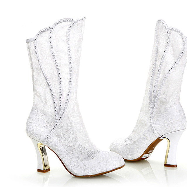 0288d19b099 2018 Luxury Sexy Woman Spring Autumn White lace Wedding Shoes High Heel  Formal Boots Bridal Dress Shoes Party Prom High Heels