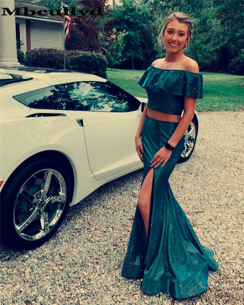 Mbcullyd Long Mermaid   Prom     Dresses   2019 Gorgeous Boat Neck Two Pieces Evening Party Gowns With Slit Vestidos de fiesta de noche