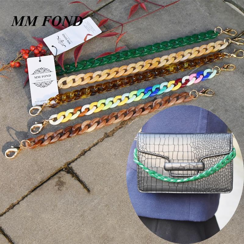 MM FOND 25cm jelly color women transparent acrylic bag strap easy matching lady shoulder bag belts 1.5cm*2cm handbag belts A303