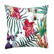 45x45cm Tropical Rainforest Plant Polyester Car Cushion Cover Leaf Geometry Wedding Decoration Pillow Case Chair