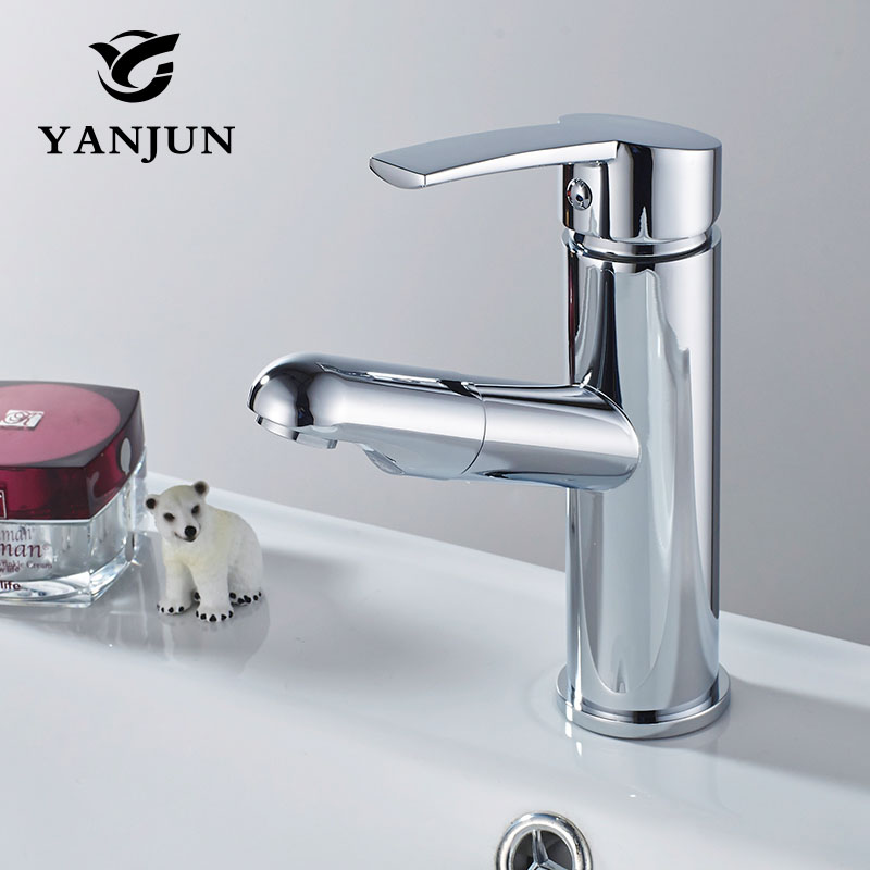 Yanjun Deck Mounted Pull Out Brass Chrome Finish Bathroom Faucet Vanity Vessel Sinks Mixer Cold And Hot Water Tap YJ-6677 hpb brass brushed chrome pull out rotary kitchen faucet mixer tap for sinks single handle deck mounted hot and cold water hp4105