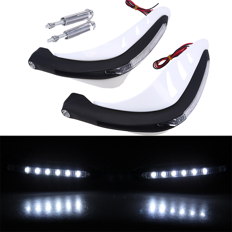 White 7/8 Motorcycle Handguards Handlebar Brush Hand Guards With LED Turn Signals Light for Scooter ATV Dirt Bike Motocross carbon handguards motocross atv motorcycle brush hand guards falling protection hand guard cover 7 8 motorbike handguard