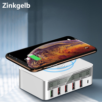 Multi port Charging Station Hub 10W Qi Fast Charger Wireless Charger LED Screen Smart USB Port Quick Charge 3.0 Type C PD Port
