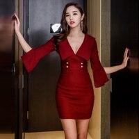 Sexy Red V-ausschnitt Hohe Taille Schlitz Flare Hülse Bodycon Hot Frauen Büro Damen Schlanke Packung Hip Mini vestidso femininas