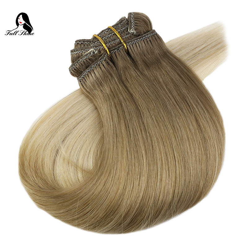 Full Shine 7Pcs 100g Hair Clip In Extensions Color#8T18T60 100% Remy Human Hair Clip In Dip Dyed Extensions Double Wefted Hair