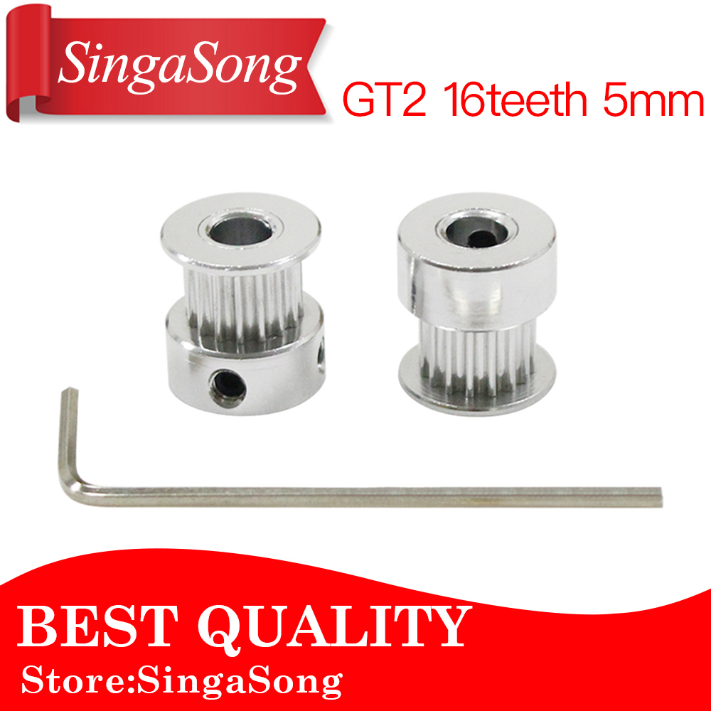 (10pcs/lot)3D Printer Parts Accessory GT2 16teeth 16 teeth Bore 5mm Timing Alumium Pulley fit for GT2-6mm Open Timing Belt