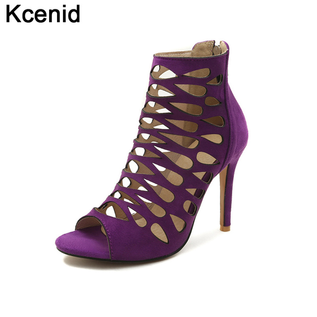 61f56c6ea3b2 Kcenid 2018 New summer roman style shoes woman fashion peep toe sexy hollow  out sandals ladies high heels shoes plus size 33-46