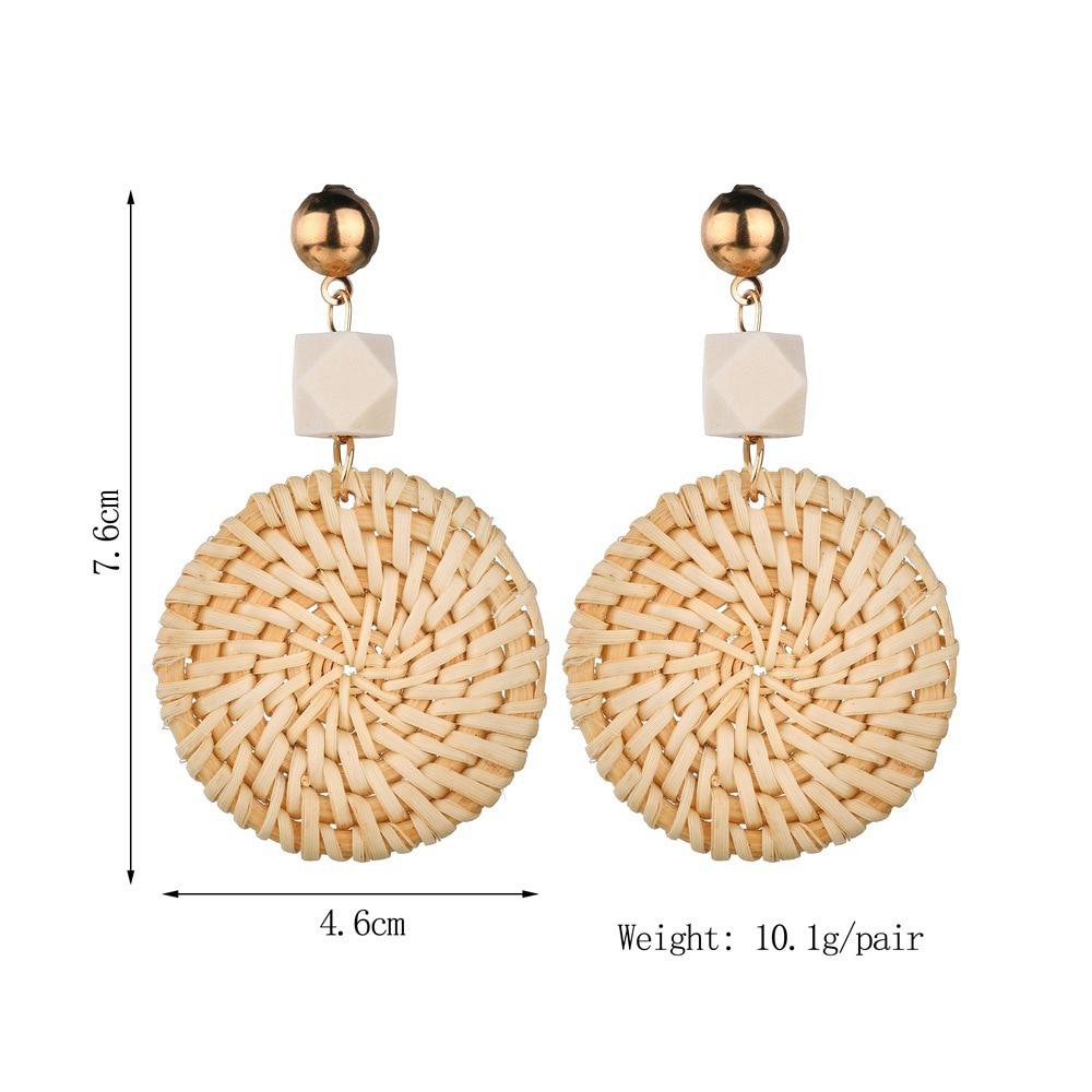 Drop Earrings Earrings Helpful New Fashion Irregular Straw Weave Rattan Knit Geometric Drop Earring For Women Handmade Triangle Pendant Dangle Earring Jewelry