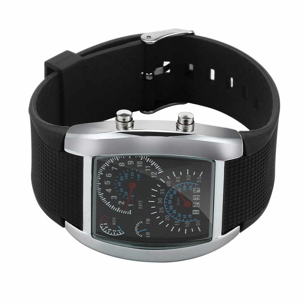 แฟชั่นผู้ชาย LED แสงแฟลช Turbo Speedometer กีฬารถ Dial Meter นาฬิกาข้อมือผู้ชาย Party ตกแต่งชุดนาฬิกาของขวัญ