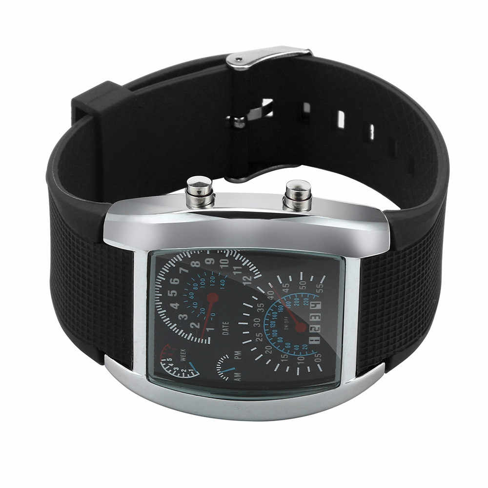 Men's Fashion LED Light Flash Turbo Speedometer Sports Car Dial Meter Men's watch Wrist Party decoration suit Dress Watch gifts