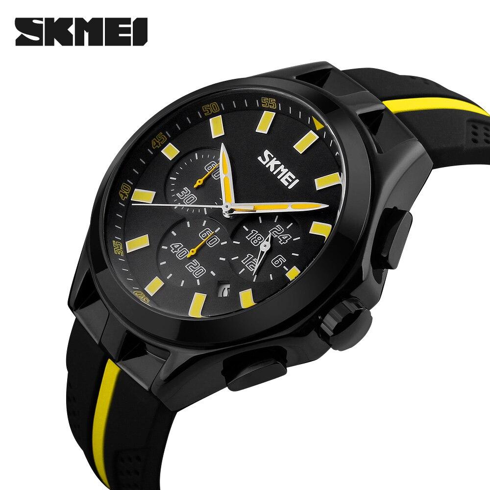 Male Quartz Watch Chronograph Sport Watch Silicone Strap Clock Men