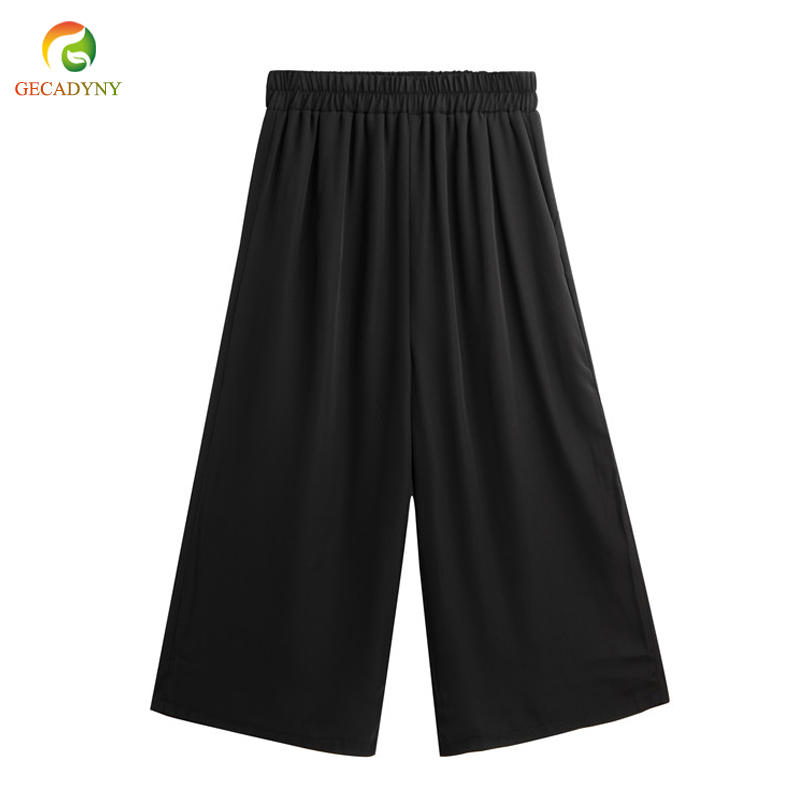 2019 New Fashion Loose Women's Summer High Waist Chiffon Wide Leg Pants Capris OL Casual Trousers Plus Size Flares Skirt Pants