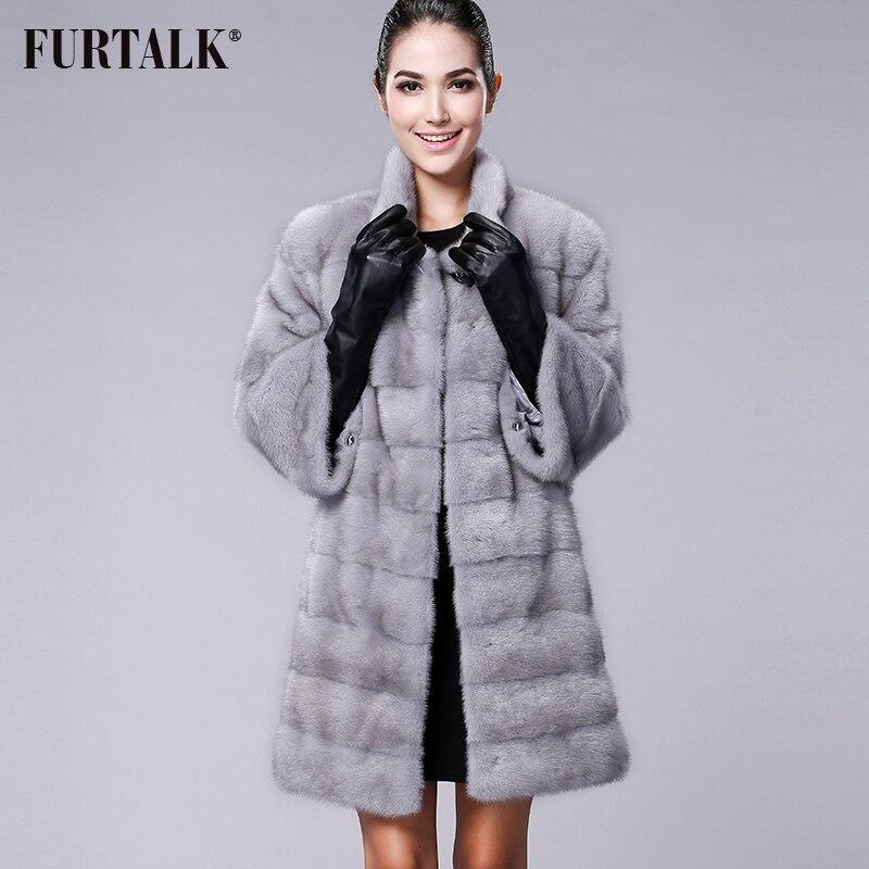 FURTALK Alta qualidade Real Natural Mink Fur Coat Mulheres Inverno Longo de Pele De Vison Casaco de Pele Casaco de tamanho Personalizado