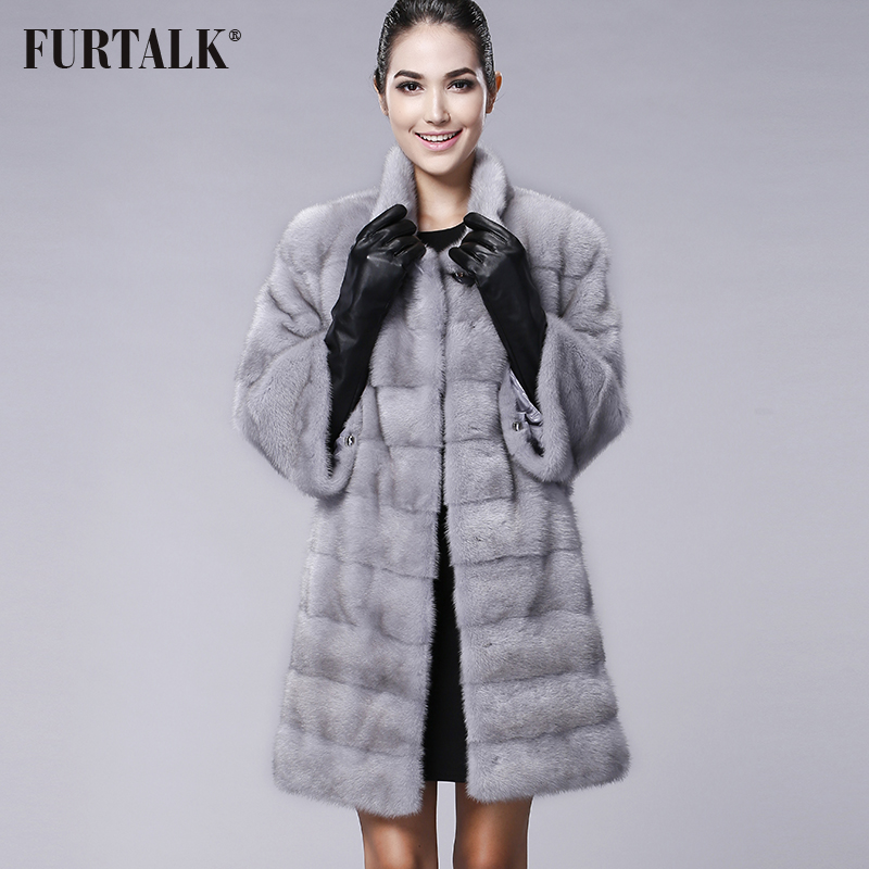FURTALK Hohe qualität Echte Natürliche Nerz Pelzmantel Frauen Winter Lange Nerz Pelzmantel Pelz Jacke
