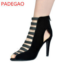 PADEGAO 2017 Fashion High Heel Black Sandals For Women  Zip Party Women's Shoes 10.5cm Heel Plus Size Xd399-0