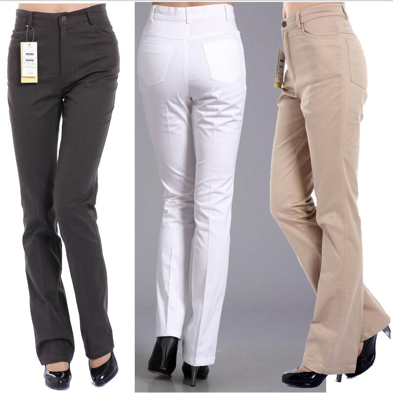 2018 Autumn Women Plus Size Pants Fashion Female Trousers High Waist Casual Pants Cotton Straight Pants For Women LY214