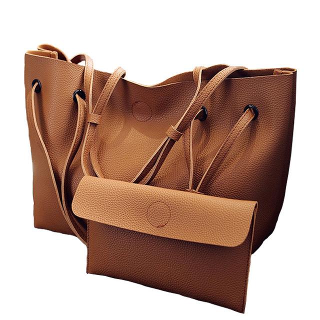 Diseñador de la Marca de Moda de europa y América Las Mujeres Bolsos de Alta calidad de cuero de LA PU Bolsas de Hombro de la Manera 2 bagsset XA874B