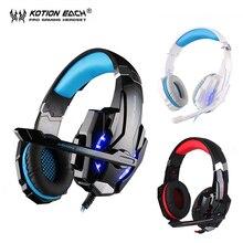 KOTION CADA G9000 cancelación de ruido auriculares con micrófono auriculares para juegos pc gamer LED para ordenador pc/ps4/tablet/teléfono celular