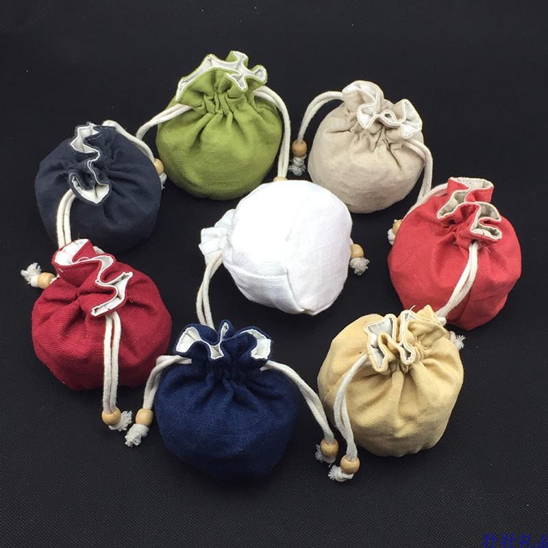 Toile de coton unie petit sac cadeau cordon sacs de noël cadeau bijoux emballage sacs poche à fond rond avec doublé 50 pcs/lot