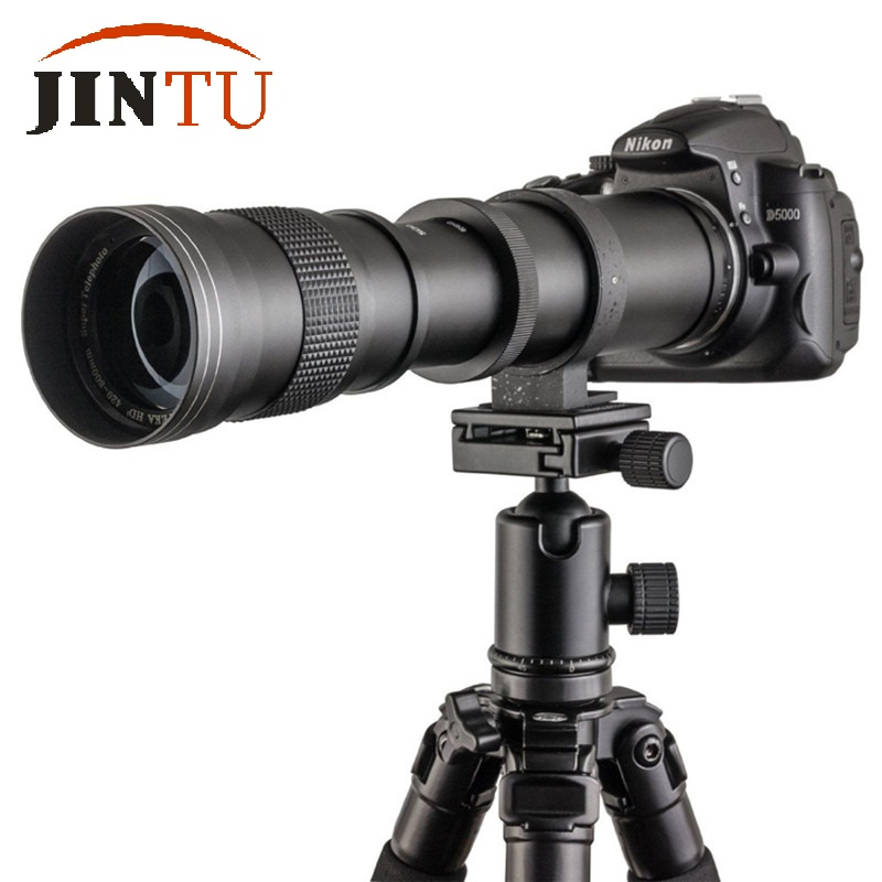 US $85 56 7% OFF|JINTU 420 800mm F/8 3 16 Manual Super Telephoto Zoom Lens  +T2 Mount Ring Adapter for Canon 7D MARK III II 5D II 80D 750D 60D 50D-in