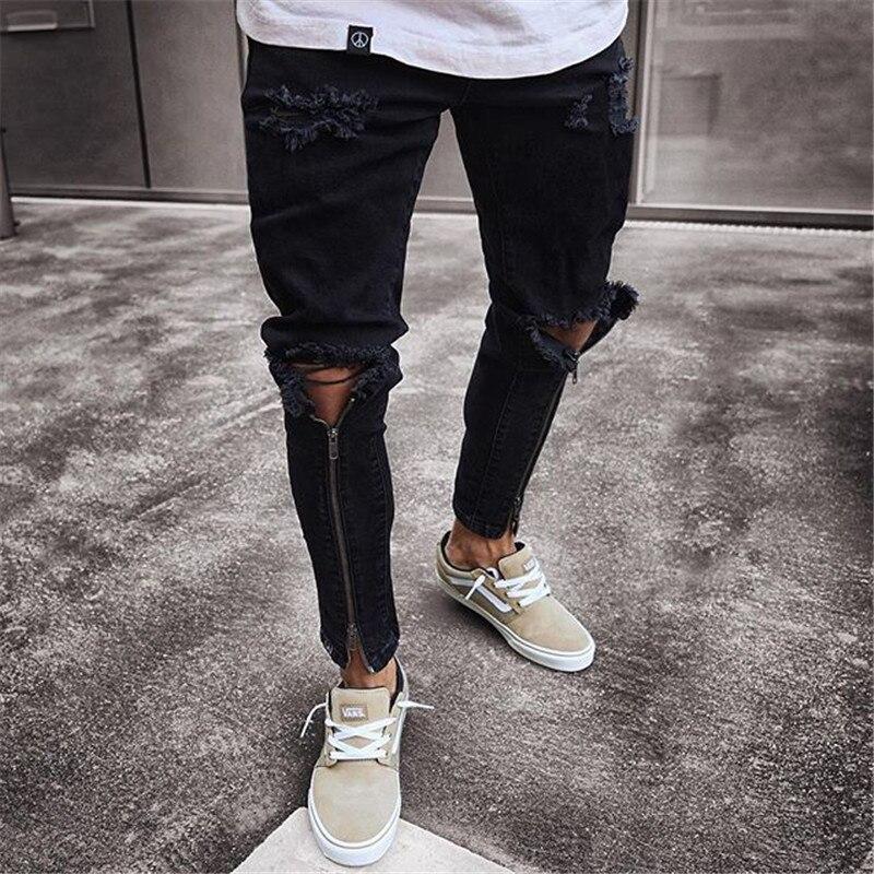 Fashion Men Ripped Biker Jeans streetwear Slim Denim Pants Elastic Skinny Destroyed Hip hop Zip black Jeans 2019 Casual Trousers