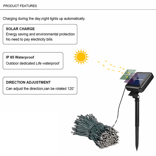 22m 200 LED Solar Lamp Outdoor Waterproof 8 Modes Garden Lights Solar Powered holiday Christmas Fairy String Light Street Lawn 1