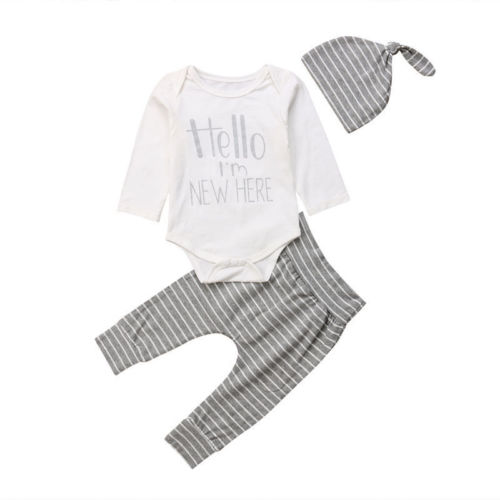2018 Brand New Casual Newborn Infant Baby Boys Girls Autumn Outfits Long Sleeves Letter Romper Striped Pants Hat 3Pcs Sets 0-24M