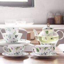 Наборы чайников чашка для напитков и блюдца зеленый цветочный принт чайная чашка салатная миска и тарелка