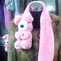 Besty Real Lovely Panda Shape Rex Rabbit Fur Scarf  Winter Man made Cute Genuine Rex Rabbit Fur Scarves Wraps