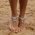 1 Pcs Casamento Nupcial Barefoot Sandálias Flor Pérola Multi-Camada Tornozeleira Praia Pé Jóias Perna Cadeia de Jóias Étnicas Para mulheres